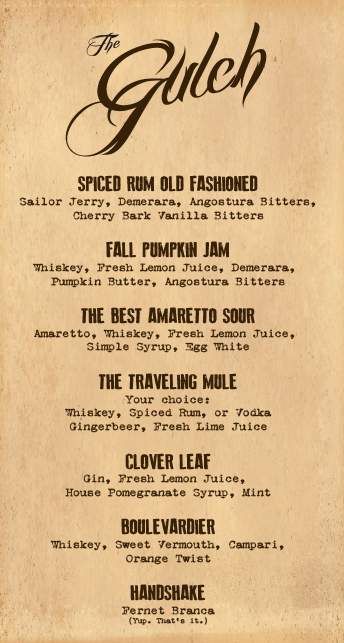 Gulch Fall Winter Menu